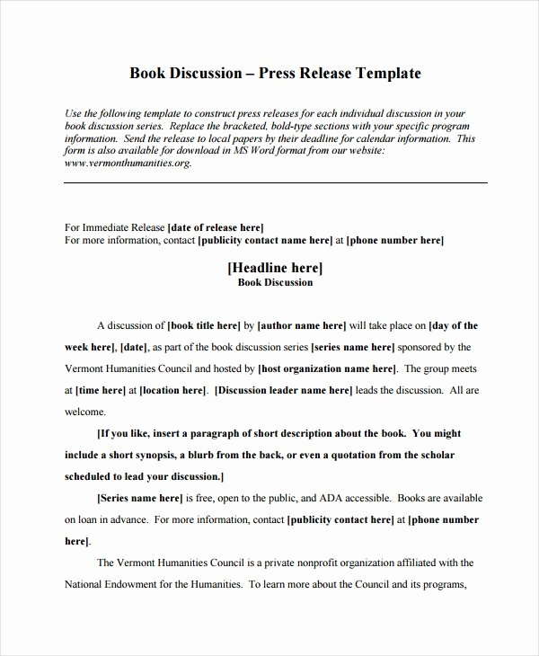 Book Press Release Template Unique 19 Press Release Templates Free Sample Example format
