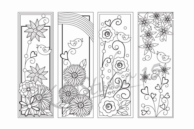 Bookmark Template for Pages Awesome Happy Spring Coloring Bookmarks Page Instant Download