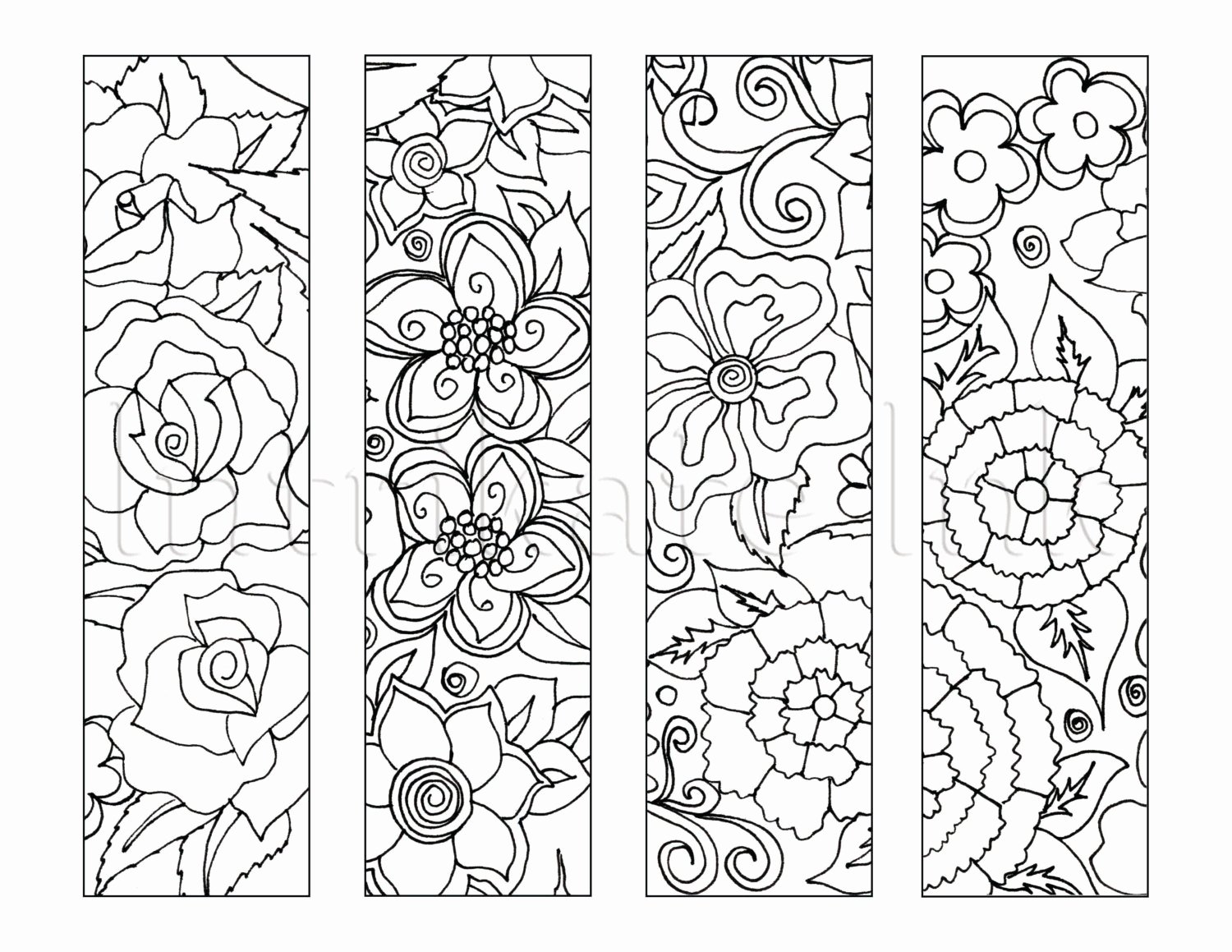 Bookmark Template for Pages Luxury 4 Flower Colouring Bookmarks Instant Download Printable