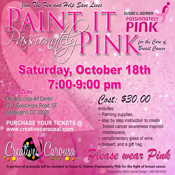 Breast Cancer Flyer Template Beautiful Creative Carousal Paint and Sip Cc events