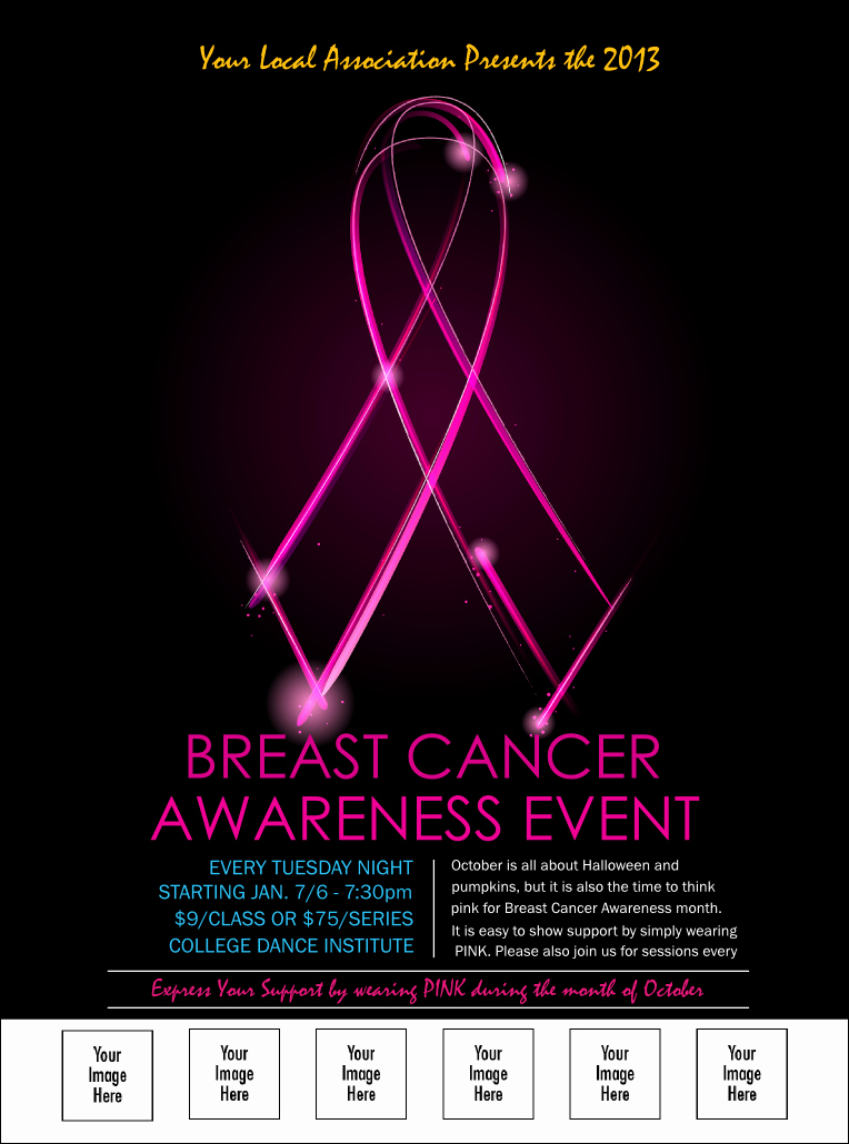 Breast Cancer Flyer Template Best Of Breast Cancer Ribbon Sparkle Logo Flyer
