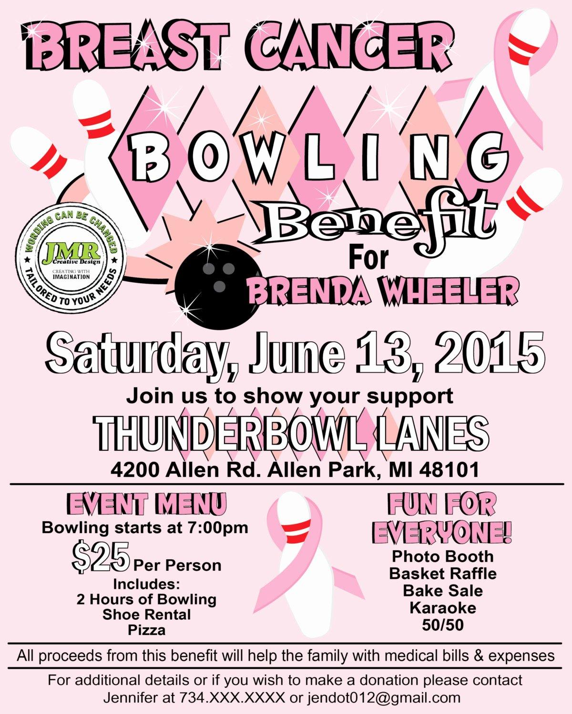 Breast Cancer Flyer Template Elegant Breast Cancer Bowling Benefit Flyer Fundraiser Flyer Strike