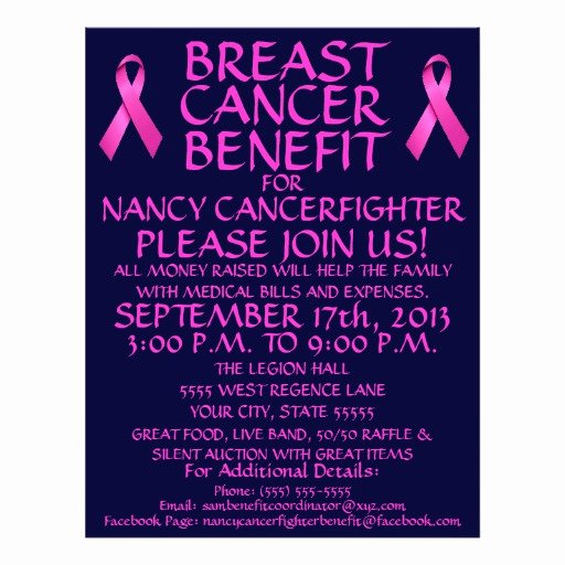 Breast Cancer Flyer Template Unique Breast Cancer Benefit Flyer