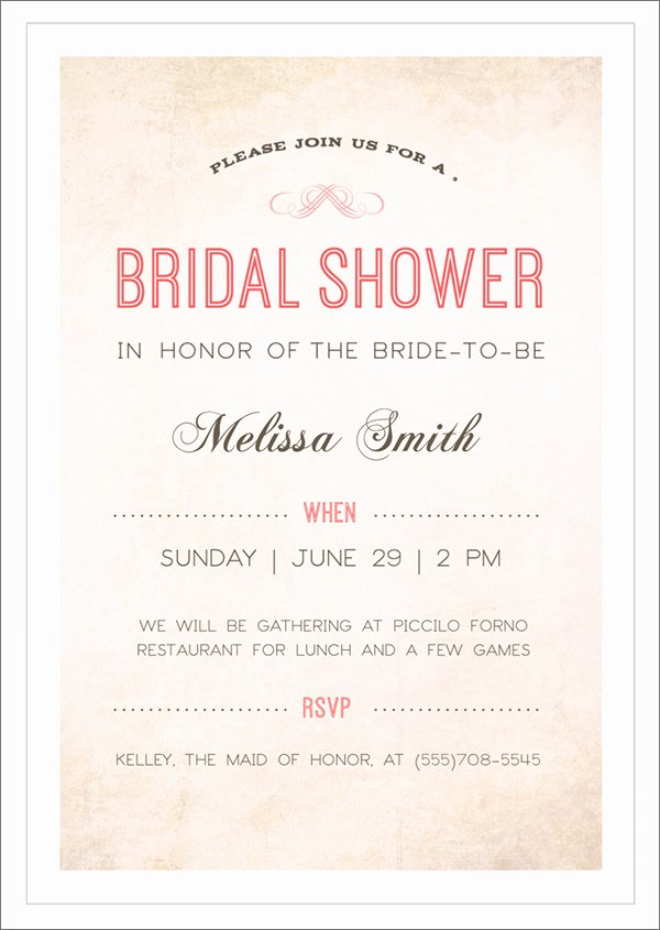 Bridal Shower Invitations Template Awesome 30 Best Bridal Shower Invitation Templates