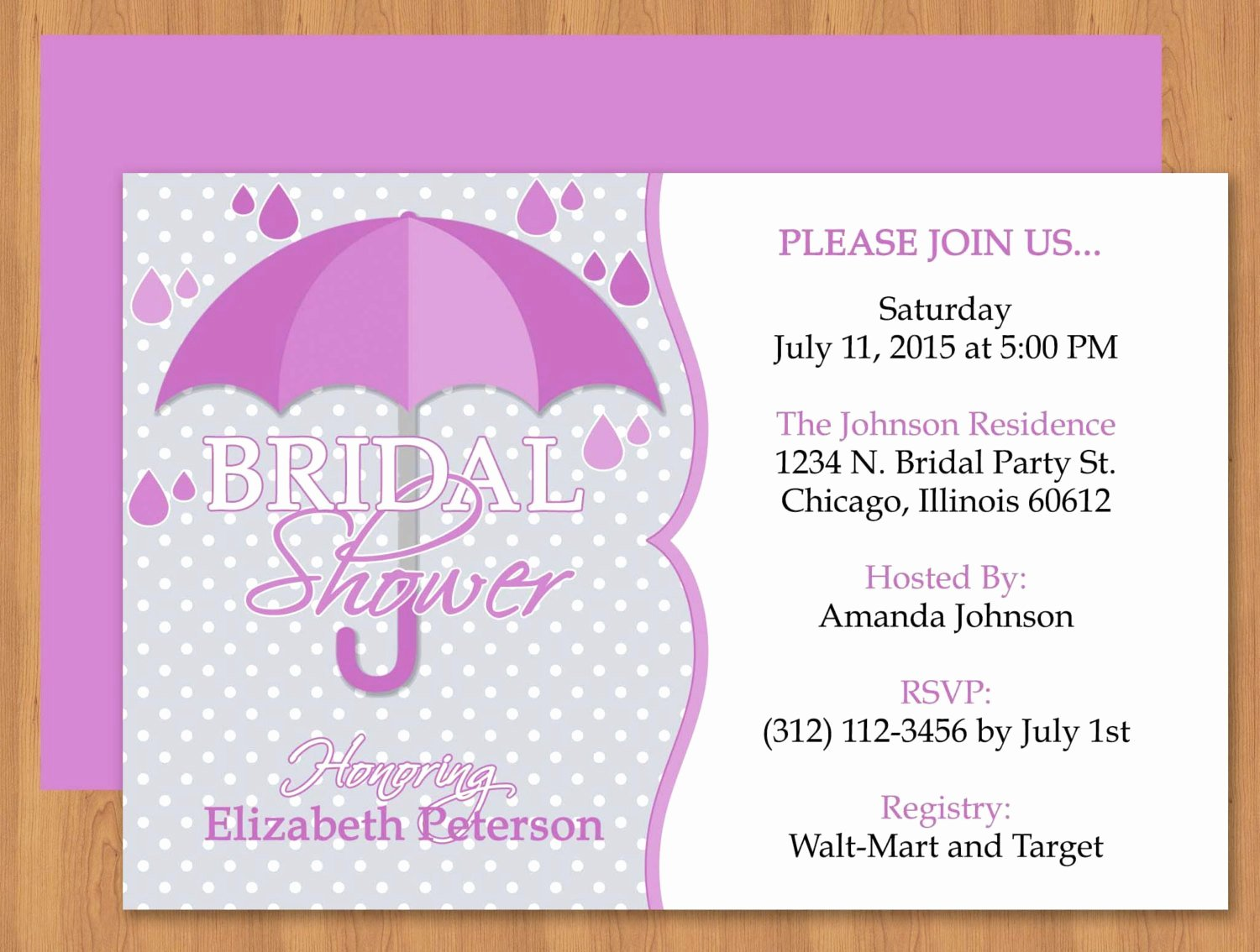 Bridal Shower Invitations Template Awesome Purple Umbrella Bridal Shower Invitation Editable Template