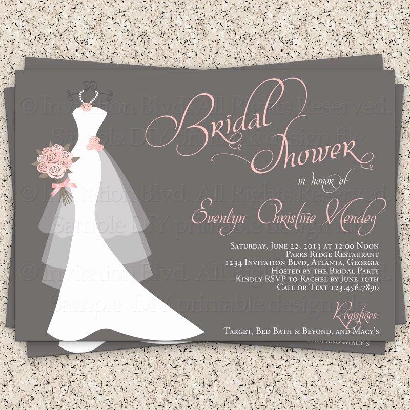 Bridal Shower Invitations Template Elegant Bridal Shower Gift Card Bridal Shower Invitation Wording