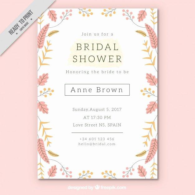 Bridal Shower Invitations Template Elegant Pretty Bridal Shower Invitation Template with Colored