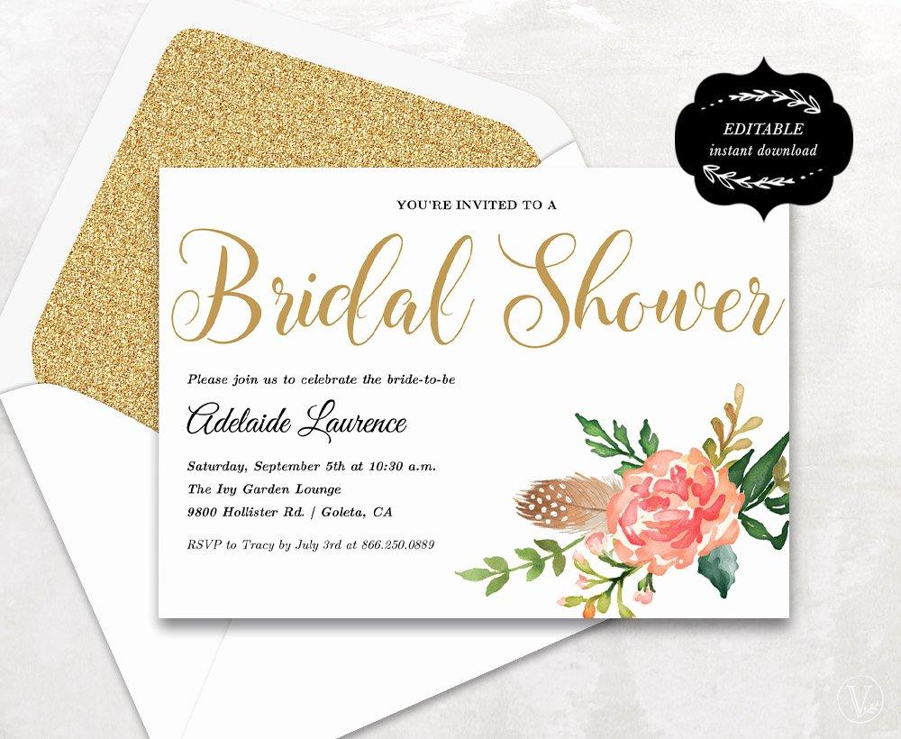 Bridal Shower Invitations Template Lovely Bridal Shower Template Printable Bridal Shower Invitation