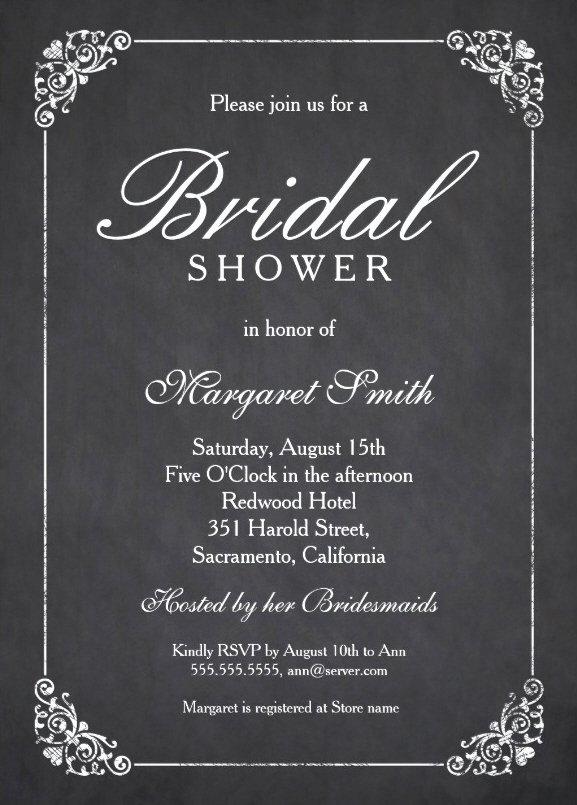Bridal Shower Invitations Template Luxury Elegant Chalkboard Bridal Shower Invitation Template Line