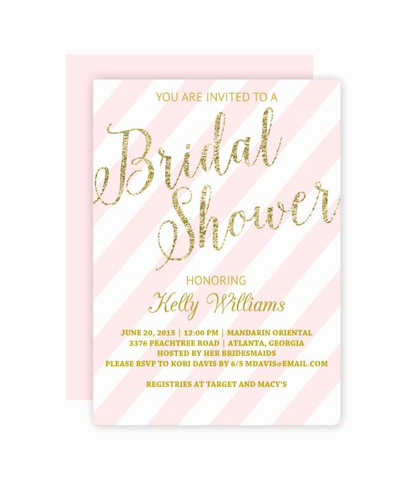 Bridal Shower Invitations Template Luxury Glitter and Blush Bridal Shower Invitation Chicfetti
