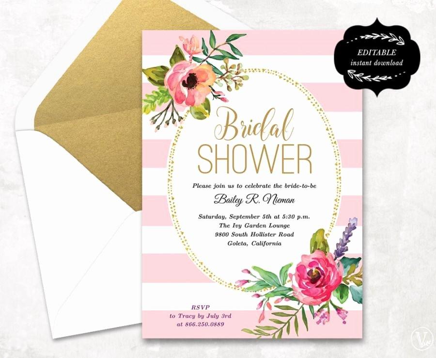 Bridal Shower Invitations Template New Blush Pink Floral Bridal Shower Invitation Template