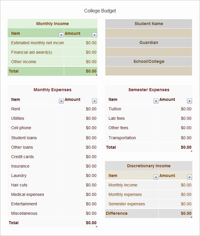 Budget Template for College Students Awesome College Bud Template 8 Free Word Pdf Excel
