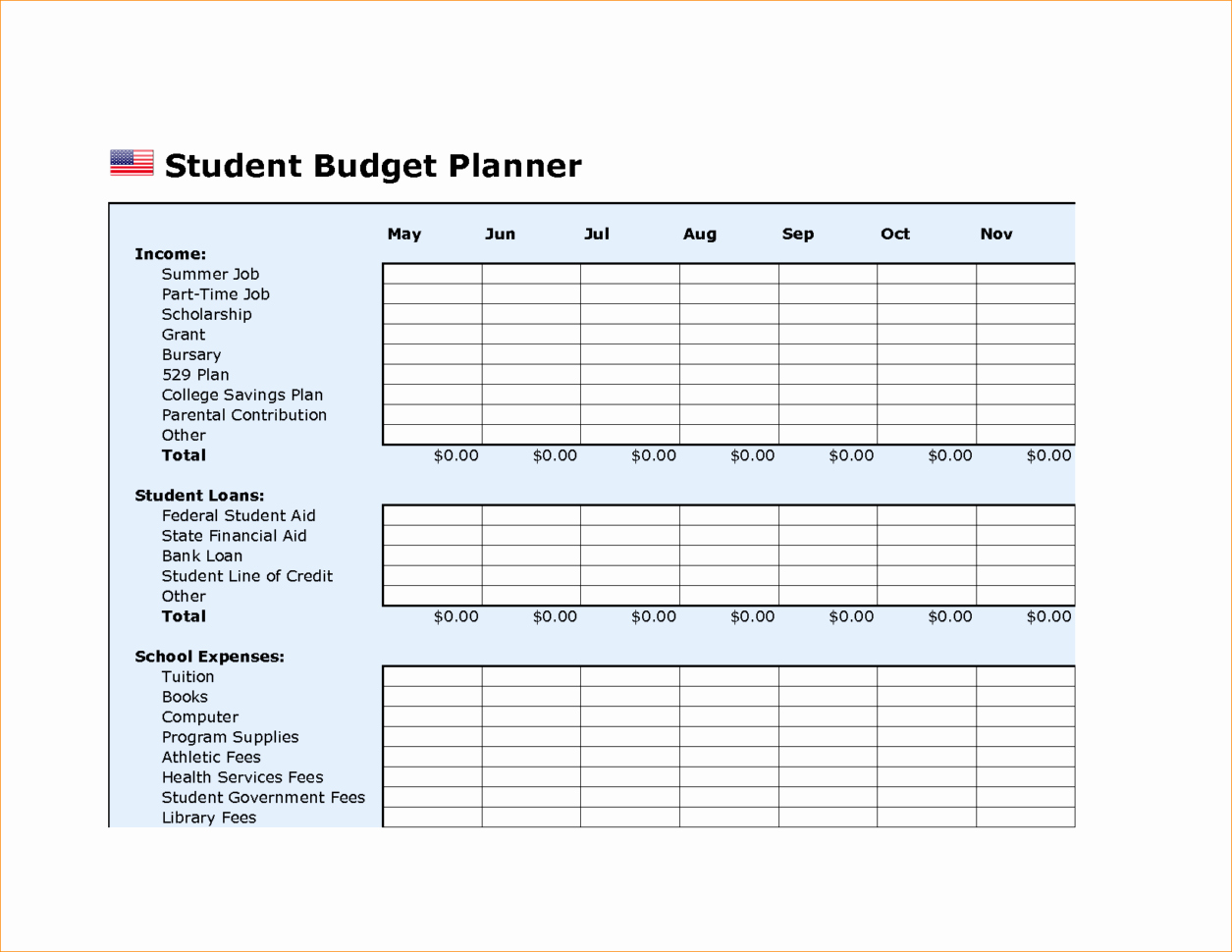 Budget Template for College Students Inspirational College Bud Plan Template College Bud Template