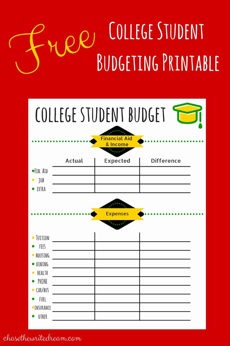 Budget Template for College Students Inspirational College Bud Template Free Printable for Students