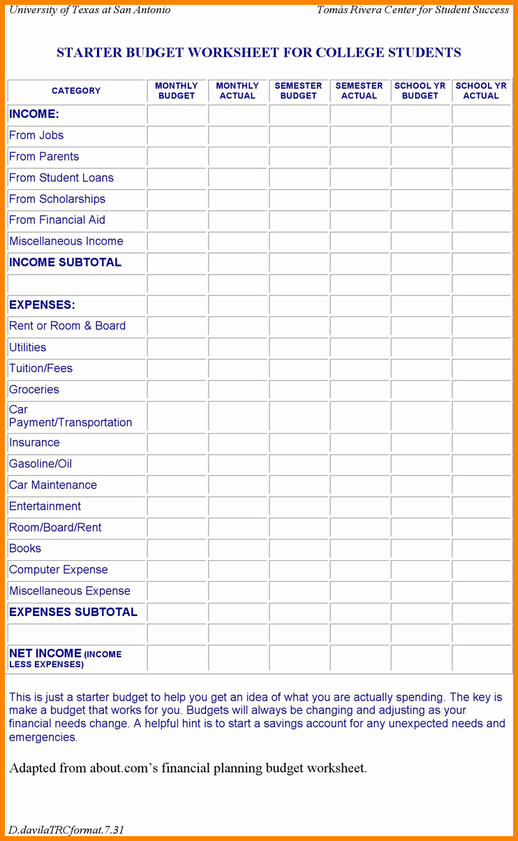 Budget Template for College Students New High School Student Bud Worksheet