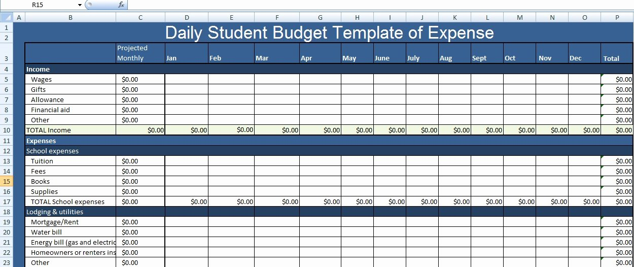 Budget Template for College Students Unique Daily Student Bud Template Of Expense Xls Free Excel