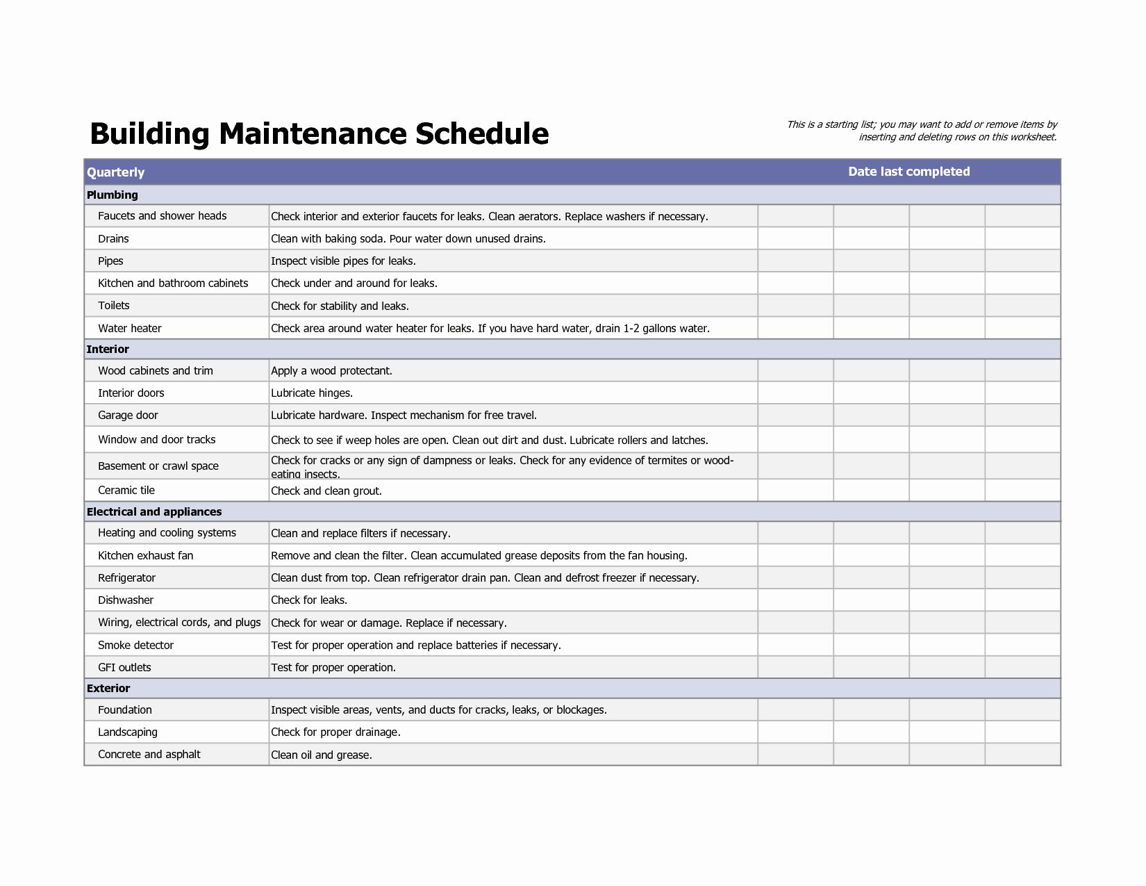 Building Maintenance Schedule Excel Template Beautiful Building Maintenance Schedule Excel Template