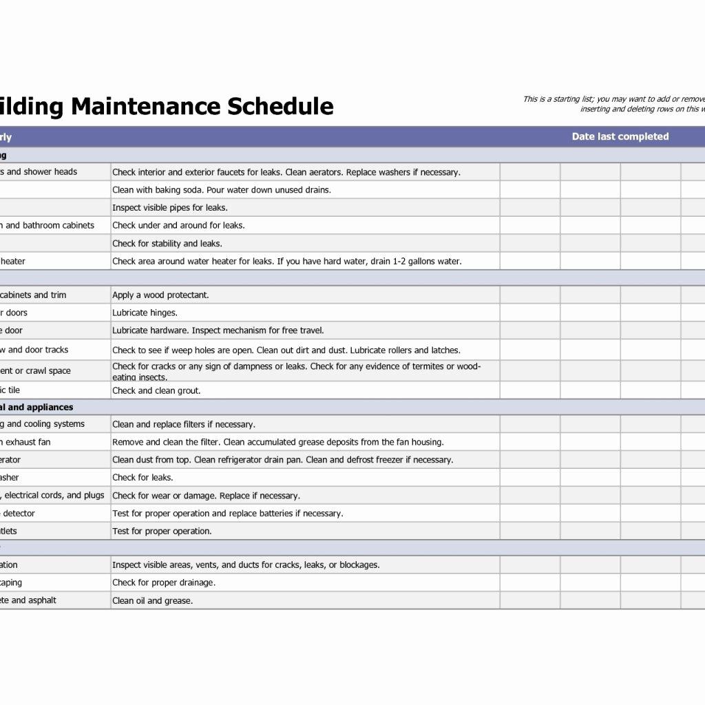 Building Maintenance Schedule Excel Template Unique Building Maintenance Schedule Excel Template Filename