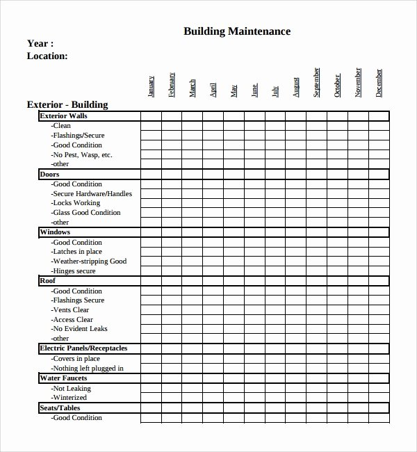 Building Maintenance Schedule Template Awesome 17 Maintenance Checklist Templates – Pdf Word Pages