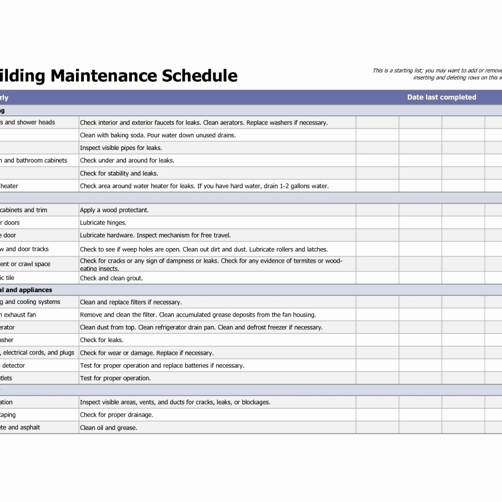 Building Maintenance Schedule Template Beautiful Building Maintenance Schedule Template Filename