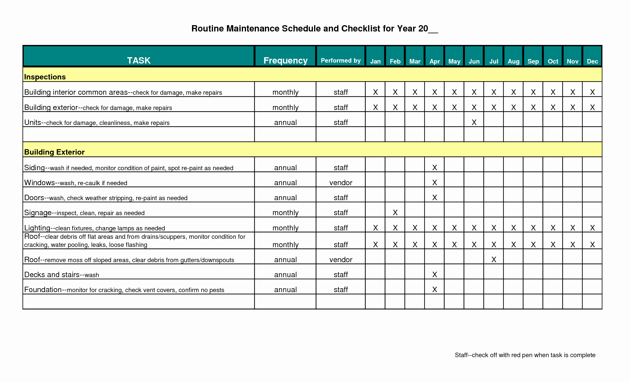 Building Maintenance Schedule Template Best Of Preventive Maintenance Schedule Template Excel