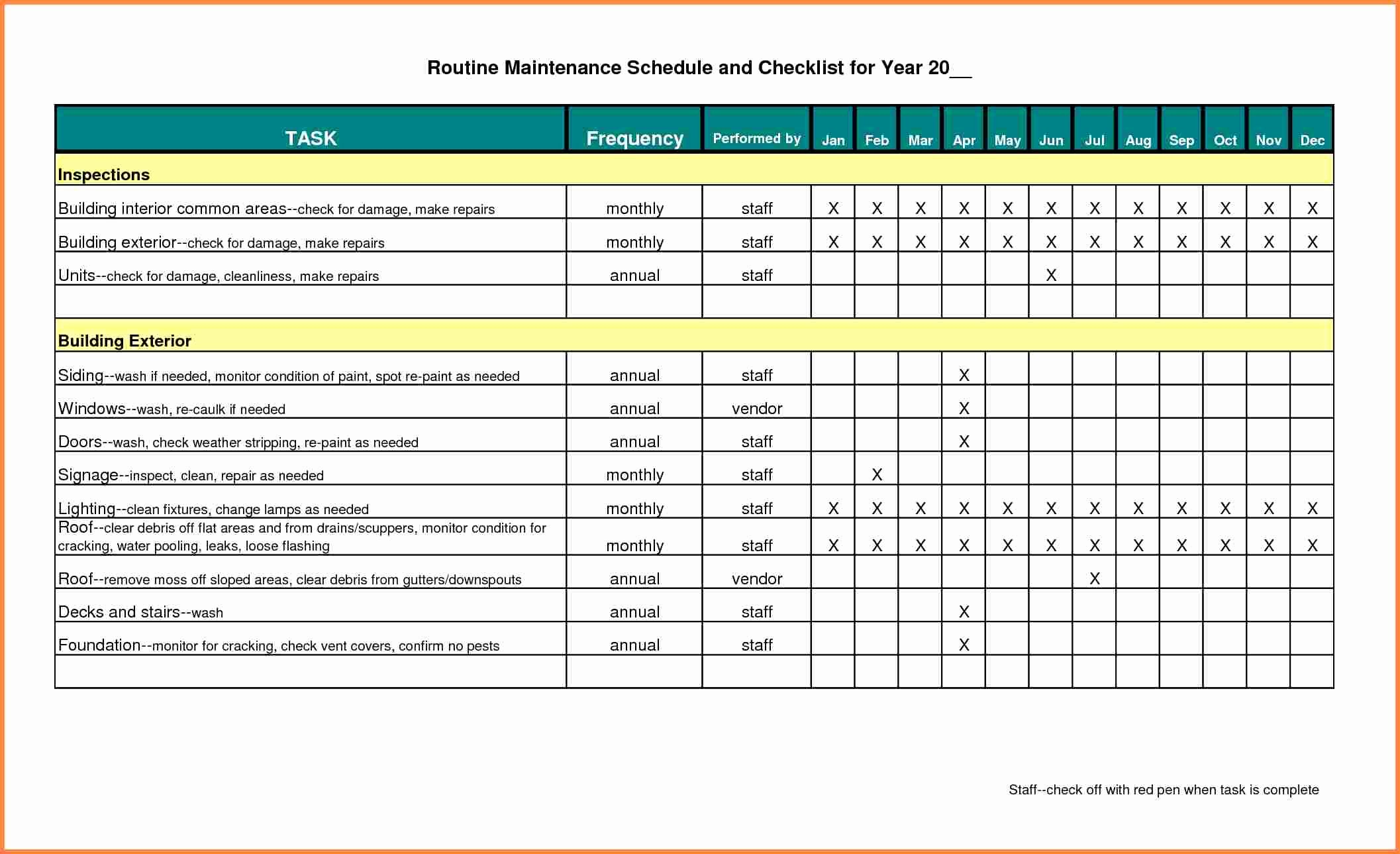 Building Maintenance Schedule Template Luxury Building Maintenance Schedule Excel Template