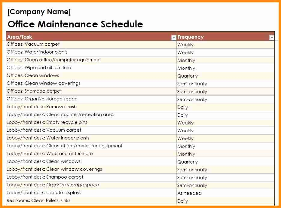 Building Maintenance Schedule Template Unique Building Maintenance Checklists – Emmamcintyrephotography