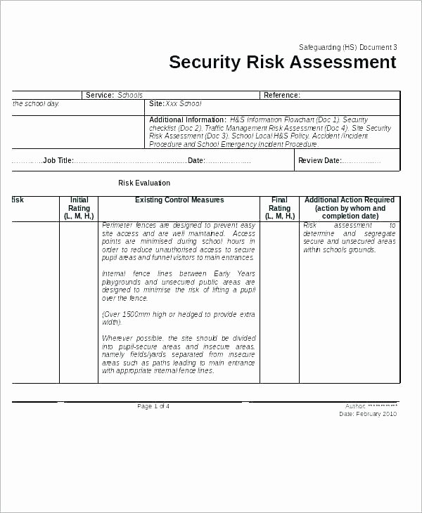 Building Security Risk assessment Template Lovely Site Security Risk assessment Template School Example