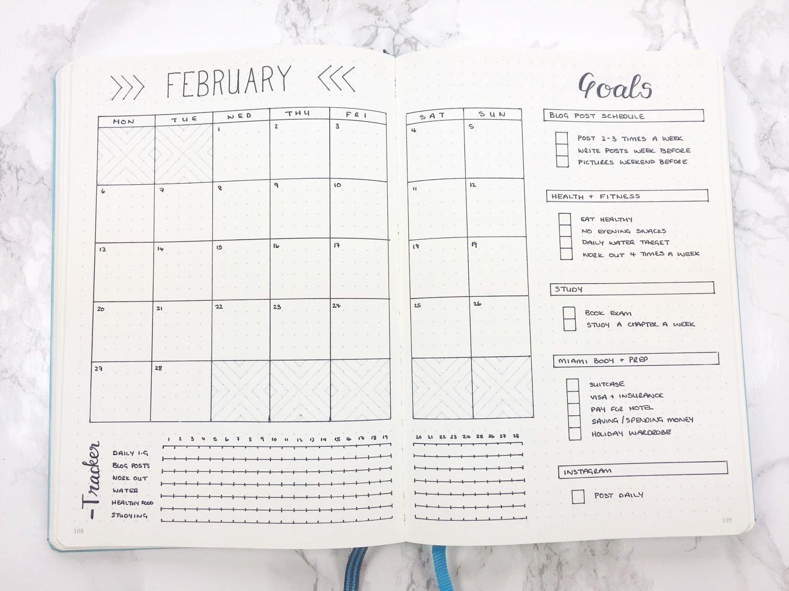 Bullet Journal Excel Template Inspirational Bullet Journal February Set Up & Template