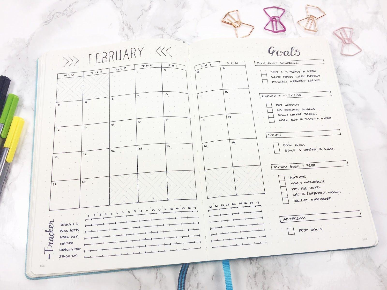 Bullet Journal Excel Template Inspirational Monthly Template Calendar Goals & Tracker