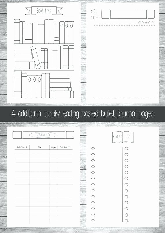 Bullet Journal Excel Template Unique Book Reading Bullet Journal Extra Pages List Template