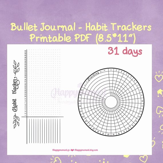 Bullet Journal Pdf Template Elegant Bullet Journal Habit Trackers Printable Sticker Circular and