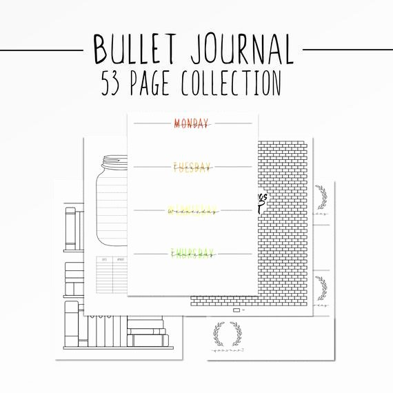 Bullet Journal Pdf Template Luxury Bullet Journal Bundle Template Collection Printable Bujo T