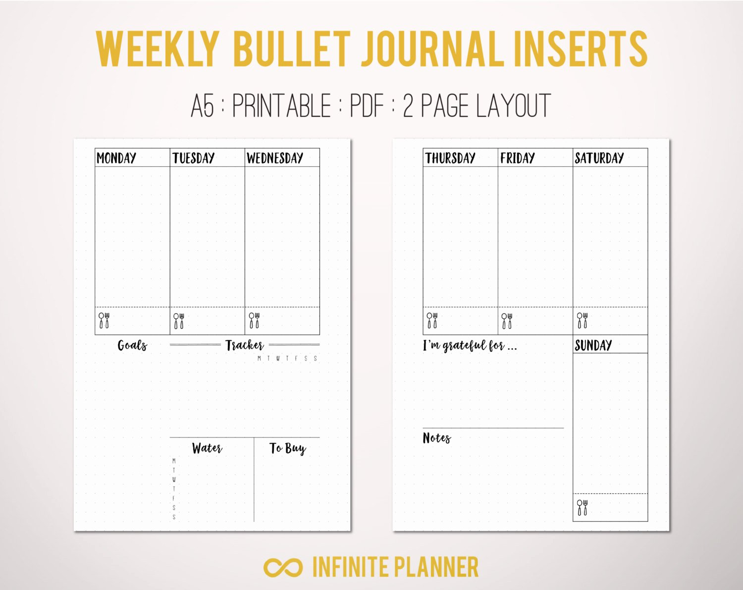 Bullet Journal Pdf Template New A5 Weekly Layout On 2 Pages Bullet Journal Printable