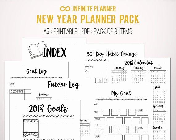 Bullet Journal Pdf Template New New Year Bundle 2018 Bullet Journal Printable