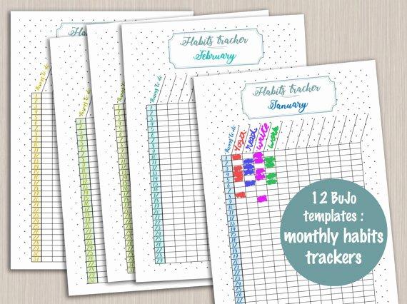 Bullet Journal Pdf Template Unique Printable Monthly Habit Tracker Template for Bullet Journal