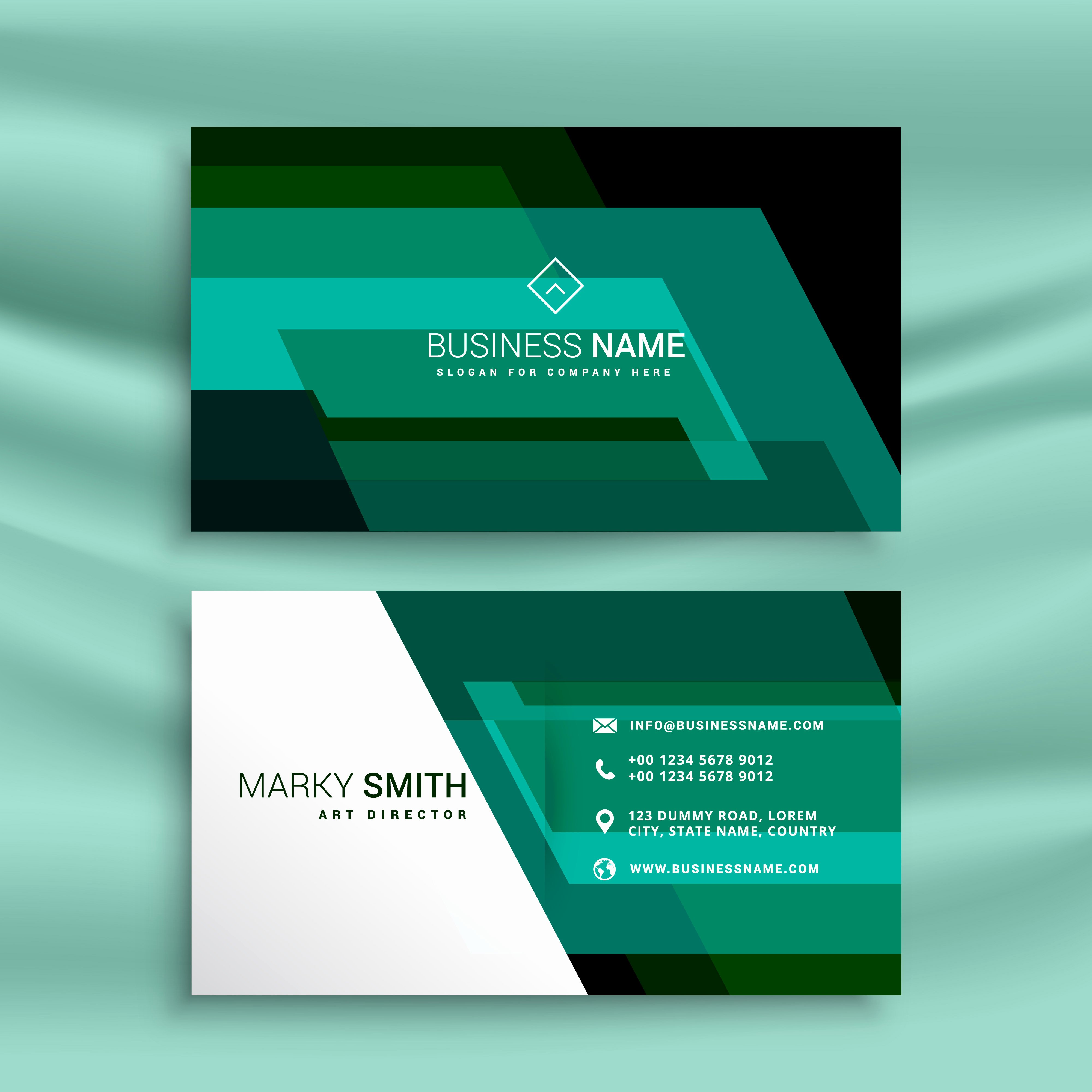 Business Card Layout Template Awesome Abstract Green Business Card Design Template Download