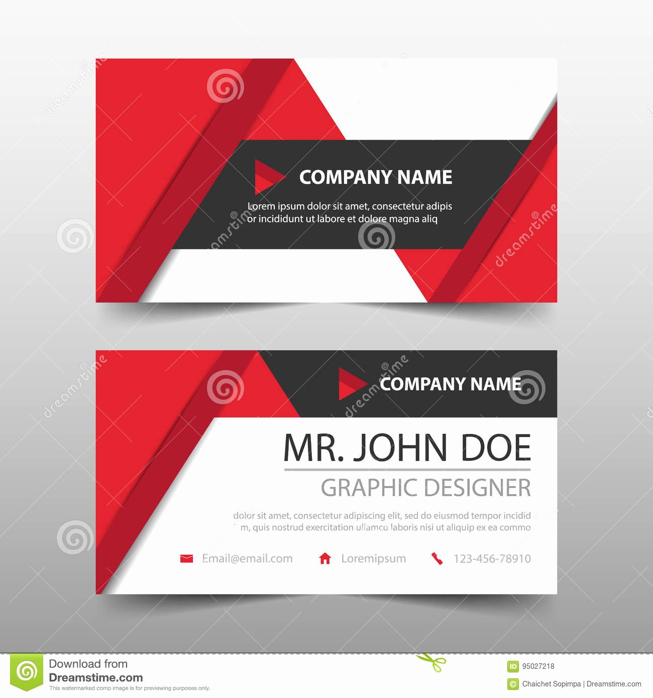 Business Card Layout Template Best Of Red Triangle Corporate Business Card Name Card Template