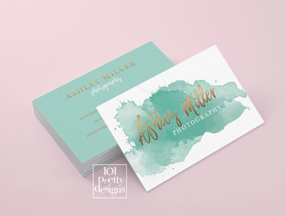 Business Card Sheet Template Lovely Watercolor Business Card Template Rose Gold Printable Business