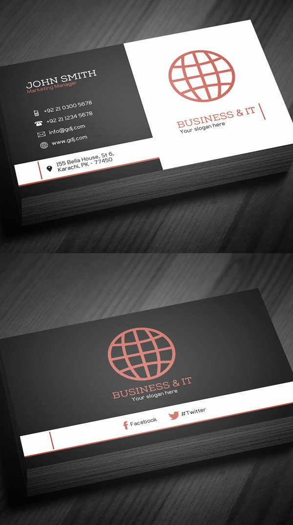 Business Card Template Free Printable Beautiful Free Business Cards Psd Templates Print Ready Design