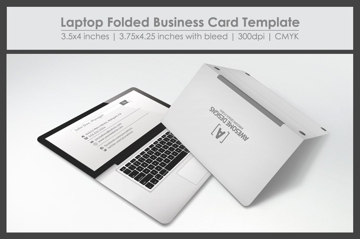 Business Card with Photo Template Awesome Laptop Folded Business Card Template Business Card