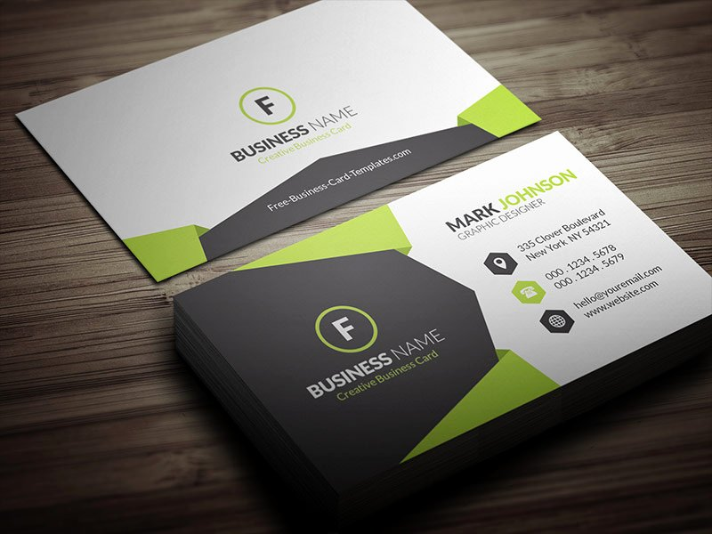 Business Card with Photo Template Beautiful Geometric Style Corporate Business Card Template Free
