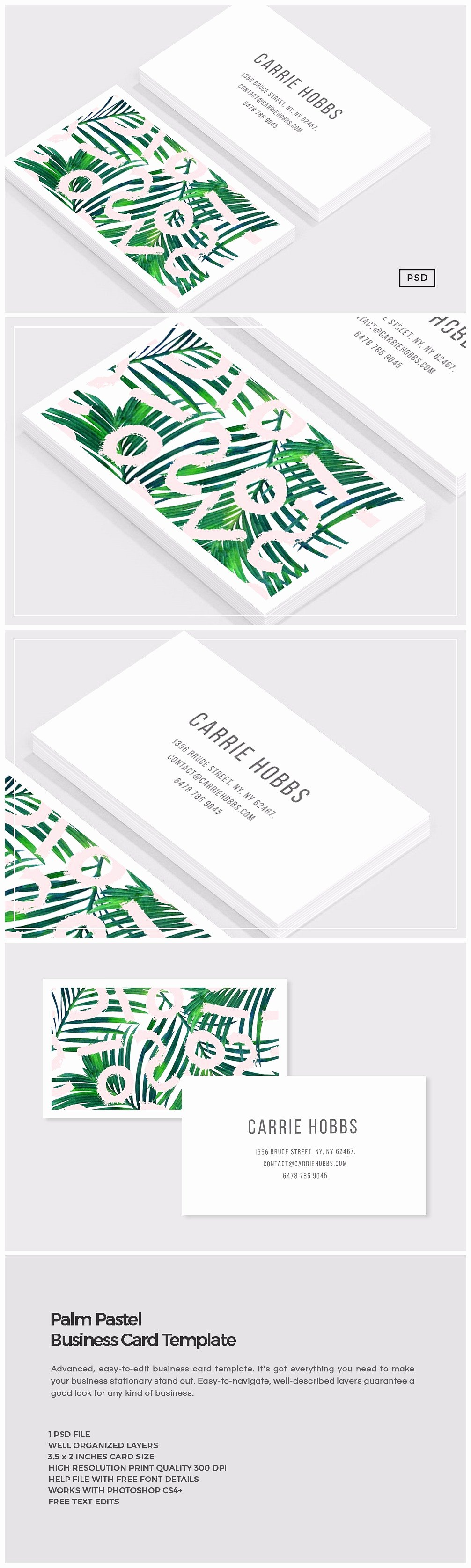 Business Card with Photo Template Beautiful Palm Pastel Business Card Template Business Card