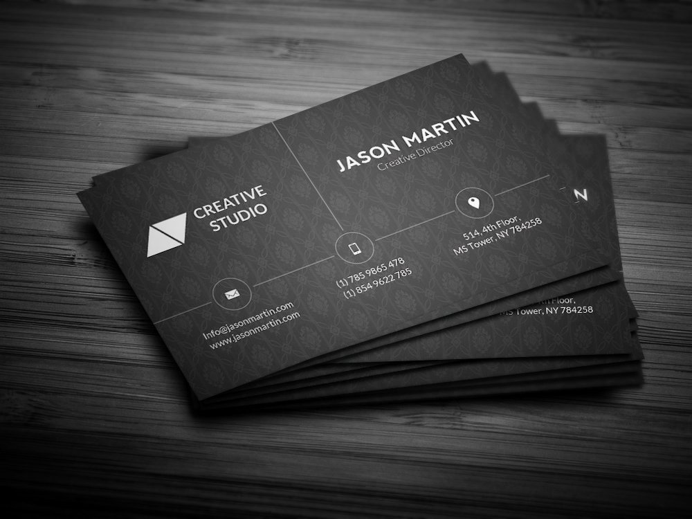 Business Card with Photo Template Fresh Corporate Dark Business Card Business Card Templates