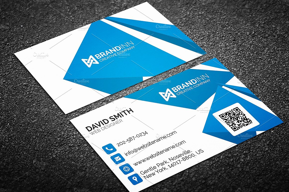 Business Card with Photo Template Fresh Creative Abstract Blue Business Card Business Card