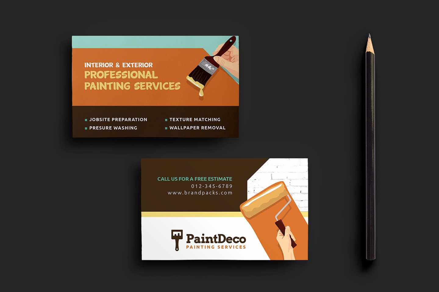 Business Card with Photo Template Fresh Painter & Decorator Business Card Template for Shop