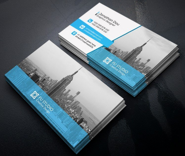 Business Card with Photo Template Lovely Free Creative Blue & orange Business Card Templates Psd