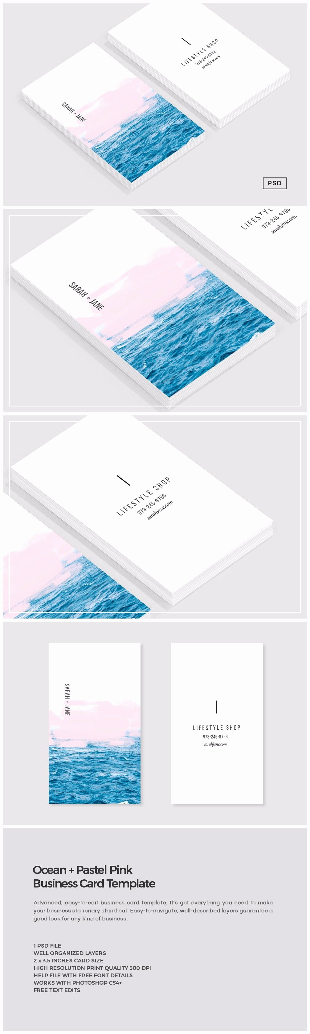 Business Card with Photo Template Luxury Ocean Pink Business Card Template Business Card