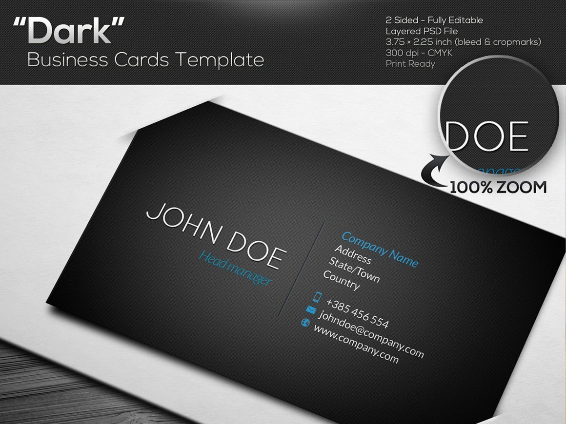 DARK Black Business Card Template