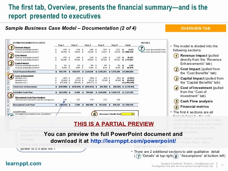 Business Case Template Excel Awesome Business Case Development toolkit with Excel Model
